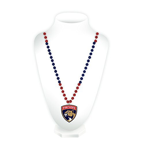 NHL Florida Panthers Team Logo Mardi Gras Style Beads