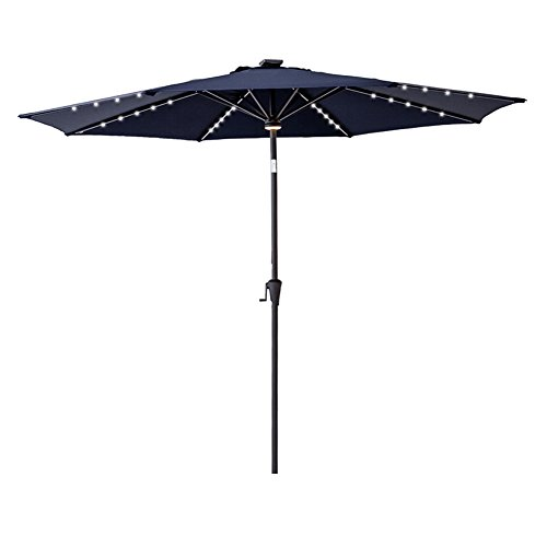 C-Hopetree 10' Outside Patio Market Umbrella with LED Solar Lights and Tilt for Outdoor Table Balcony Garden Yard Deck, Navy Blue (Led Garden Blue Solar Lights)