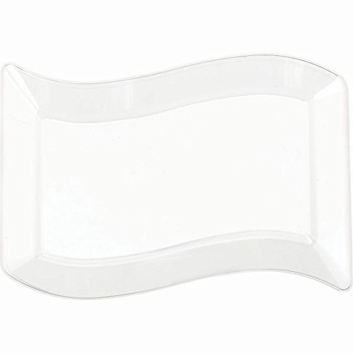 Clear Wavy Rectangle Premium Plate   Large   Pack of 10   Party Supply