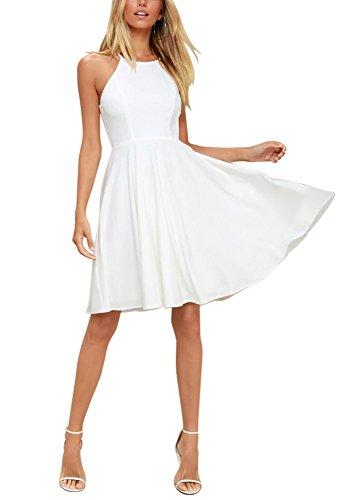 BELONGSCI Women Outfit Sweet Sleeveless Spaghetti Strap Flared Swing Pleated A-Line Summer Skater Dress (White, S)