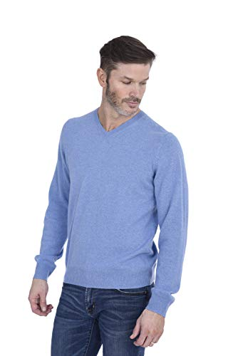 Cashmeren Men's 100% Pure Cashmere Long Sleeve Pullover V Neck Sweater (Baby Blue, -