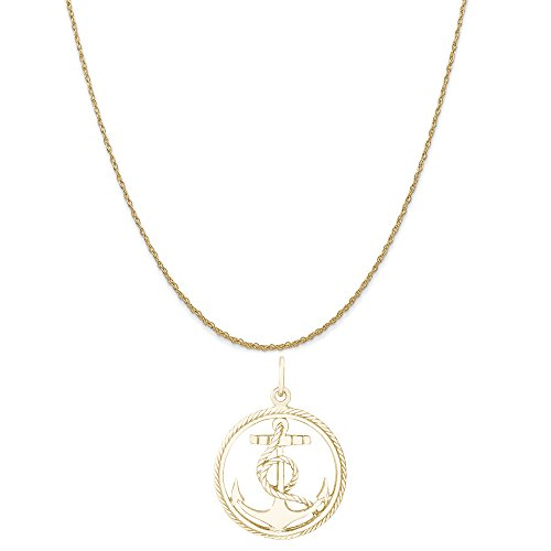 Rembrandt Charms 10K Yellow Gold Anchor in a Circle Charm on a Rope Chain Necklace, 18'' by Rembrandt Charms