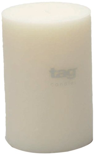 Tag 100074 4-Inch by 6-Inch Unscented Long Burning Pillar Candle, (Pillar Candle Tag)