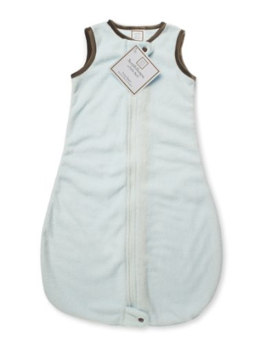 SwaddleDesigns Baby Velvet Sleeping Sack with 2-Way Zipper, Pastel Blue with Mocha Trim, 0-6MO by SwaddleDesigns