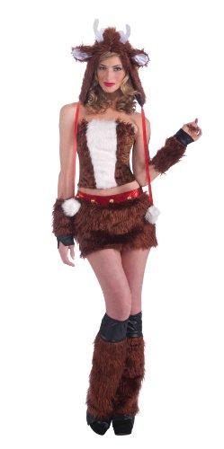 Women's Furry Favorites Red Hot Reindeer Costume, Brown, ...
