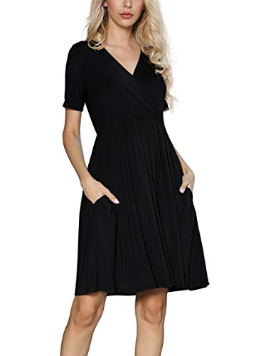 DEARCASE Women's Casual Loose Short Sleeve V Neck Summer Dresses with Pockets