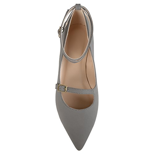 Journee Collection Womens Ankle Strap Pointed Toe Flats Grey Oh74NzzVQc