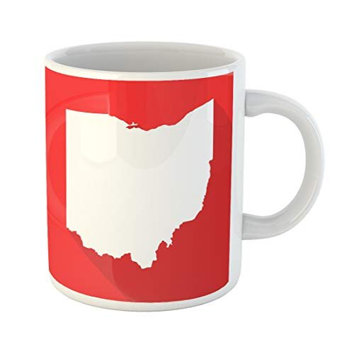 Emvency Funny Coffee Mug Abstract Ohio White Map Border Flat Simple Style with Long Shadow on Red Color 11 Oz Ceramic Coffee Mug Tea Cup Best Gift Or Souvenir -