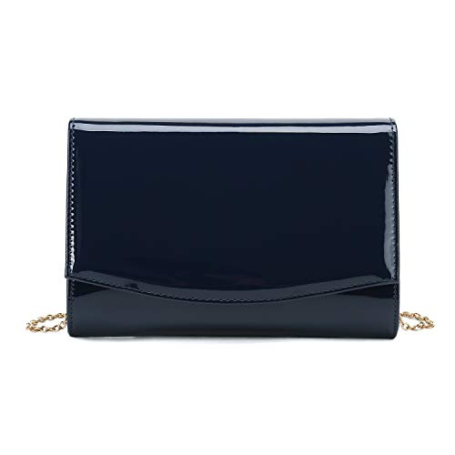 Charming Tailor Patent Leather Flap Clutch Classic Elegant Evening Bag Chic Dress Purse (Navy)