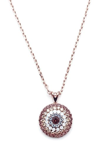 Necklace Pave Swarovski (Mariana Crème Brûlée Swarovski Crystal Rose Goldtone Pendant Necklace Brown Mix Pave Starburst 146)