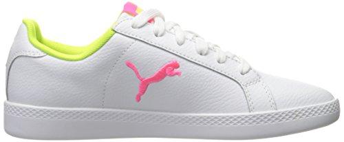 Puma Femmes Smash Chat L Wns Mode Sneaker Puma Blanc-knockout Rose-sécurité Jaune