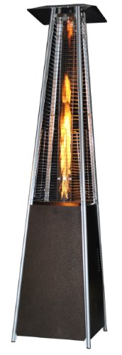 Heater Reviews Patio (SUNHEAT International (SUNH0) Contemporary Square Design Portable Propane Patio Heater with Decorative Variable Flame, Golden Hammered)