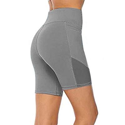 Ulanda Women's High Waist Tummy Control Workout Yoga Shorts Side Pockets Running Compression Exercise Shorts Fitness Pants: Clothing