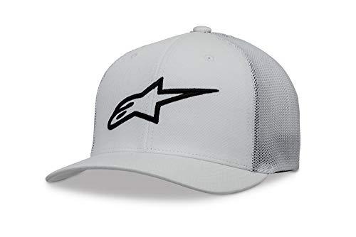 Cotton Stretch Logo Hat - Alpinestars Men's Logo Flexfit hat Curved Bill Structured Crown, Ageless Stretch mesh White/Black, S/M