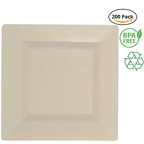 Party Joy 200-Piece Plastic Dinner Plate Set   Square Collection   Heavy Duty Premium Plastic Plates for Wedding, Parties, Camping & More (Ivory)