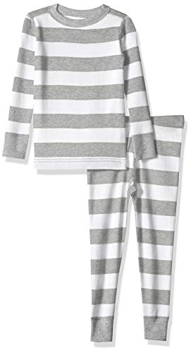 Moon and Back Toddler Kids Organic 2-Piece Pajama, Grey Heather Stripe 3T