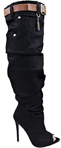 LL Lopez-1 Women Open Toe Knee High Slouchy Baggy Scrunch Denim Stiletto Heel Boots Black 9