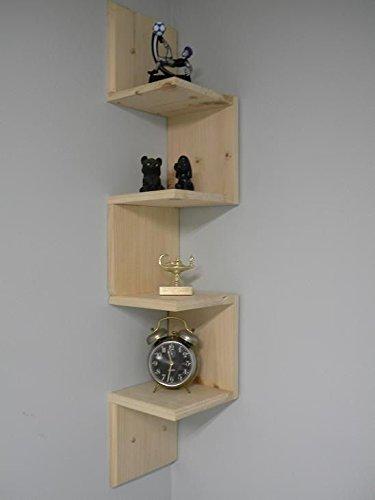 amazon com real wood corner wall shelf stackable 5 tiers corner rh amazon com Zig Zag Line Living Room Shelves