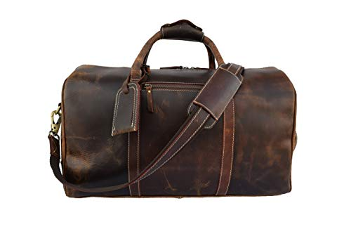20 Inch Weekender - Leather Castle Vintage Buffalo Hide Duffel Bag | Sports Gym Training Fitness Handbag Duffel | Weekend Travel Flight Aircabin Carry-on Luggage Bags For Men Women, 20 Inch (Chocolate Brown)