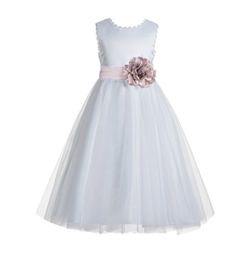 ekidsbridal V-Back Lace Edge White Flower Girl Dresses