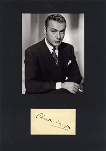 (Charles Boyer (+) VINTAGE autograph, signed album page mounted)
