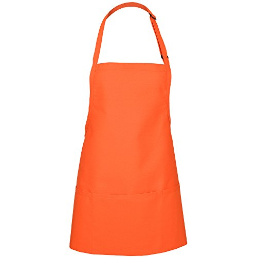 Fame Adult's 3 Pocket Bib Apron (O/S, Orange)
