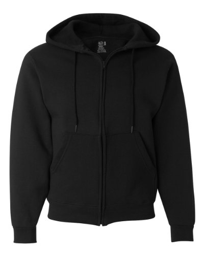 - Fruit of the Loom 12 oz. Supercotton 70/30 Full-Zip Hood (82230)- Black,XL