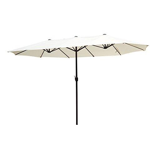 Outsunny 15' Double-Sided Twin Outdoor Market Patio Umbrella with Crank - Cream - Patio White Umbrella
