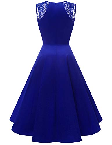 Dress Homrain Swing Cocktail Royalblue Sleeveless Women's Vintage Party Hi Lace Prom Elegant Lo xSTxF