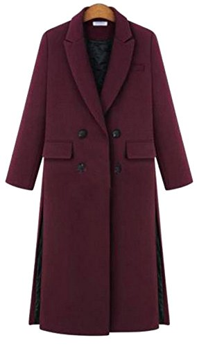 Lingswallow Women's Thick Double Breasted Quilted Lined Split Oversized Wool Blend Coat Red