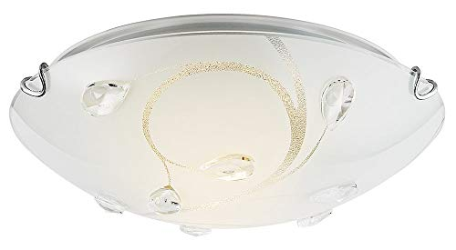 Modern White Glass Flush Mount Ceiling Light Fitting with Transparent Droplets by Happy ()