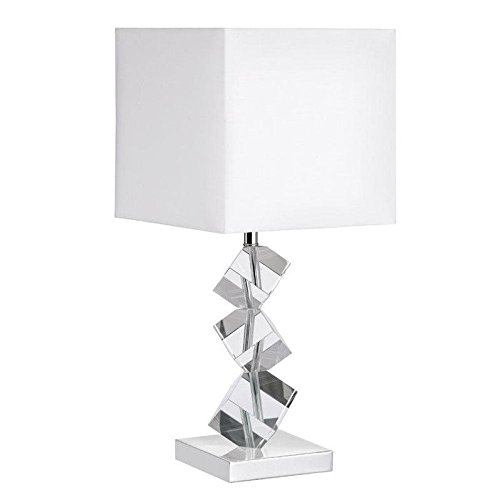 Dainolite Lighting 601T-PC-WH Table Lamp with Crystal Cubes, Polished Chrome Finish (Frosted Glass Top Table)