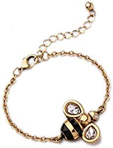 Sterling Silver Dancing Honey Bee Chain Link Women Bracelet Crystal Big Stone Bracelet