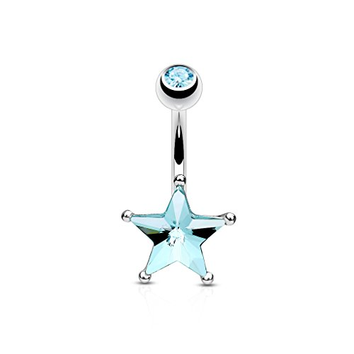 14G Crystal Star Set Belly Button Navel Ring 316L Surgical Steel (CHOOSE COLOR) (Aqua Cubic Zirconia Star)