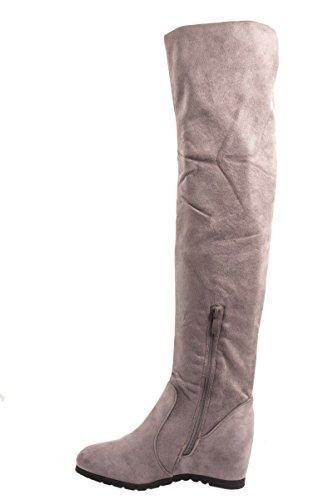 Stiefel Stiefel Keilabsatz Damen Hidden Overknee Elara Grau Wedges wR6I1qBT