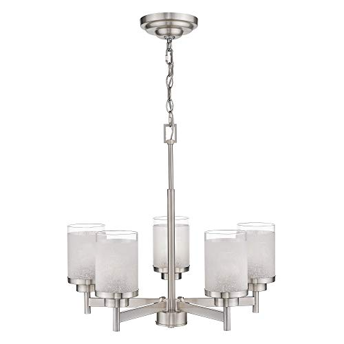 Jazava Contemporary 5-Light Large Chandeliers, Industrial Indoor Pendant Lighting for Kitchen Island, Living Room, Brushed Nickel with White Linen Frosted and Clear Glass Shades ()