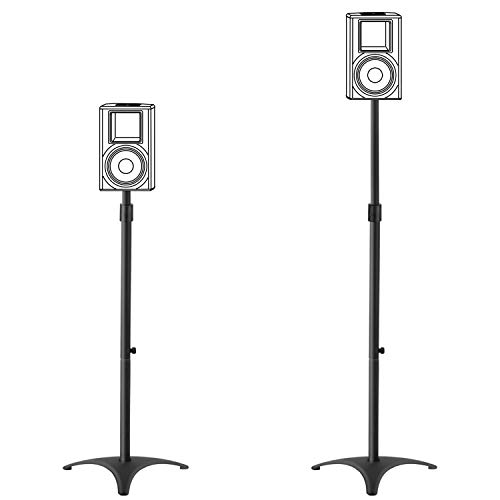 Mounting Dream Height Adjustable Speaker Stands Mounts, One Pair Floor Stands, Heavy Duty Base Extendable Tube, 11 LBS Capacity Per Stand, 35.5-48
