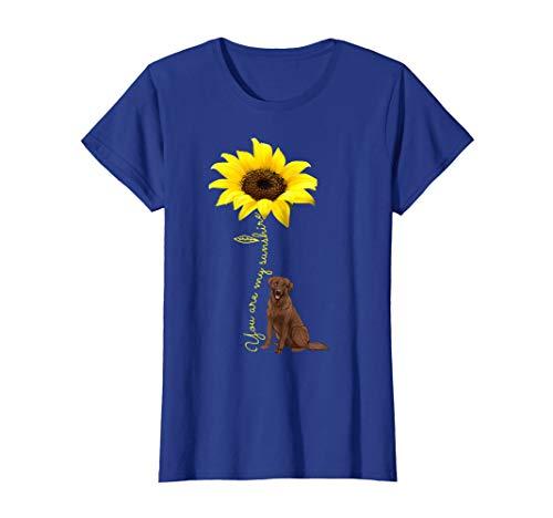Chocolate Lab Retriever - Womens You Are My Sunshine Sunflower Chocolate Labrador Lab Shirt