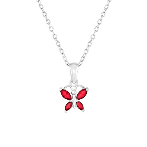 Sterling Silver Butterfly Pendant Necklace with Simulated Birthstone CZ for Girls, 16'' (July) (Child Butterfly Pendant)