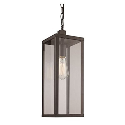 Trans Globe Lighting 40757 BK Oxford Outdoor Black Industrial Hanging Lantern, 19.5