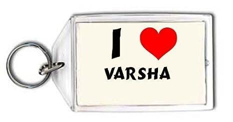 Amazon.com: I Love Varsha personalizado llavero (Primer ...