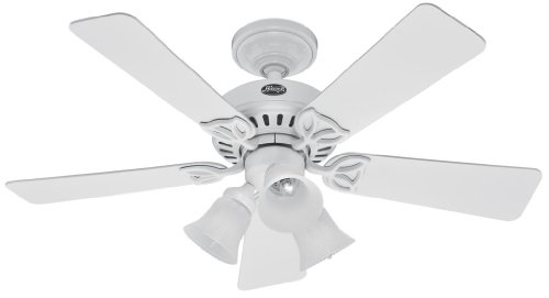 42' White Ceiling Fan (Hunter 20436 Beacon Hill Three-Light 42-Inch Five-Blade Ceiling Fan, White with Frosted Globes)