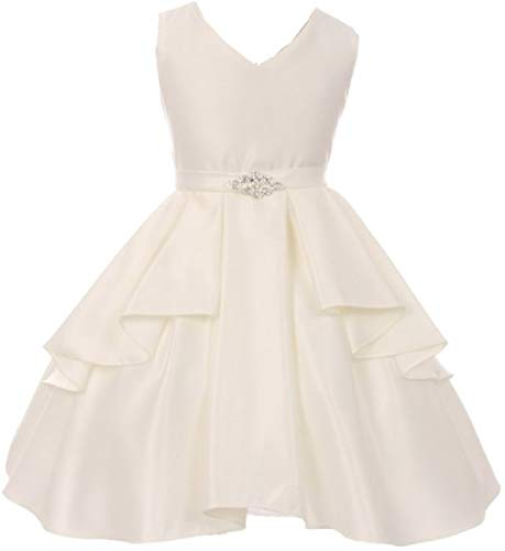 Big Girls' Solid Dull Satin Overlays Brooch Sash V Neck Flower Girl Dress Off White 12 (G35G71)