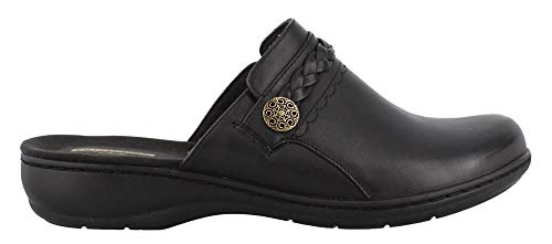 CLARKS Women's Leisa Carly Clog, Black Leather, 080 M US