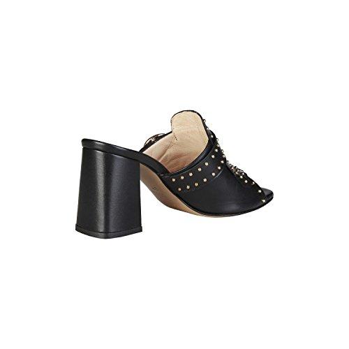PIERRE CARDIN EW-1001 Sandalias De Vestir Para Mujer Con Tachuelas, Flecos Y Hebilla Lateral Tacón: 8 cm