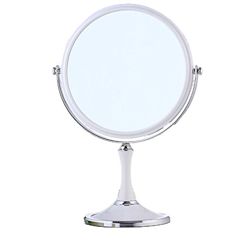 XPXKJ 8-Inch Tabletop Vanity Makeup Mirror with 3X Magnification, Two Sided ABS Decorative Framed European for Bathroom Bedroom Dressing Mirror (Table- Circular) (Circular Vanity Mirror)