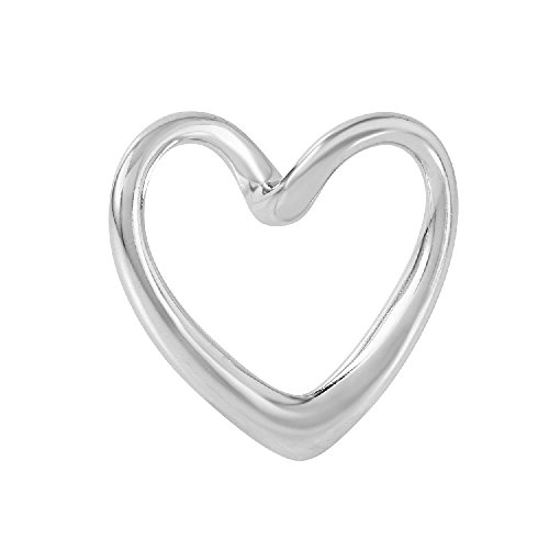 Pendant Sterling Silver Slide Heart (Sterling Silver Floating Heart Slide Pendant, Flawless Quality)