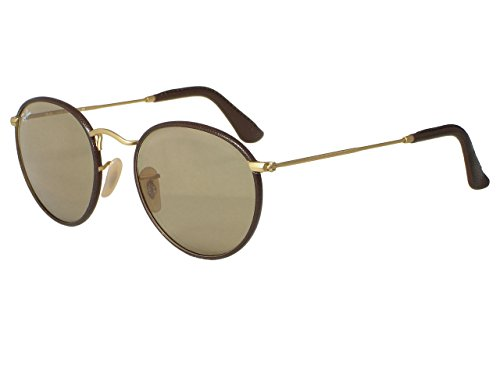 Ray Ban RB3475Q Leather Round 112/53 Matte Gold Brown / Light Brown Sunglasses - Leather Ray Ban Sunglasses