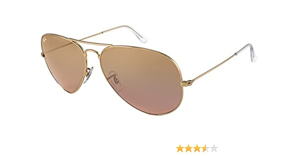 702ea21e78 Amazon.com  Ray-Ban Sunglasses - RB3025 Aviator Large Metal   Frame  Gold  Lens  Crystal Brown-Pink Silver Mirror (55mm)-RB30250013E55  Clothing