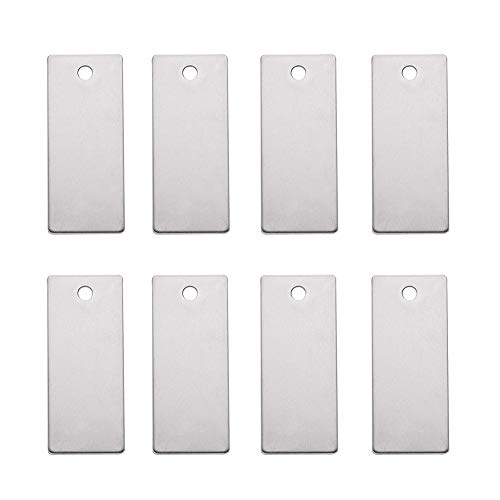 Pandahall 10pcs 1.49x0.62 Inch (38x16mm) Rectangle Unfading Stainless Steel Blank Stamping Tags Charms -